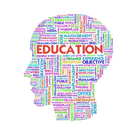 Word cloud business concept inside head shape, learn and education Stock Photo - 11749353