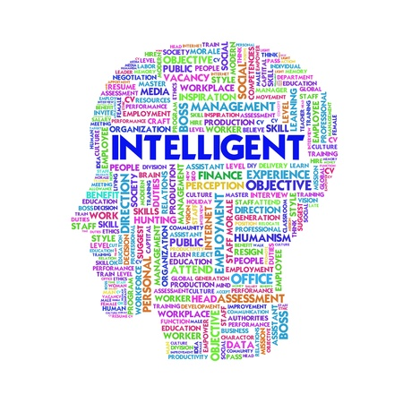 study: Word cloud business concept inside head shape, learn and education