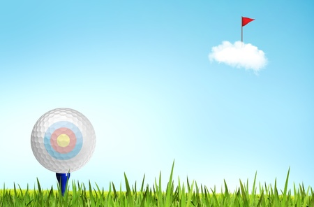 Golf ball on tee off with green grass field over the blue sky background , business target concept photo