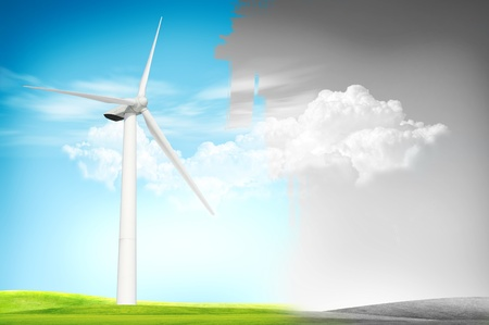 land scape: Wind turbine land scape for day and night concept Stock Photo