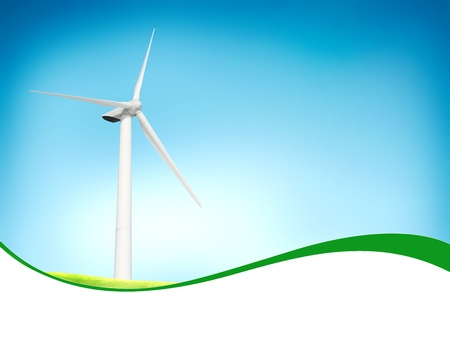 wind power plant: Beautiful green meadow with Wind turbines blue sky