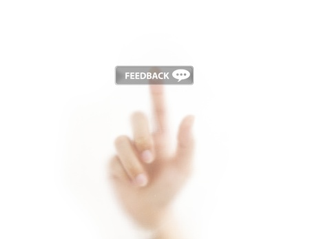 Finger pressing feedback icon button Stock Photo - 11862669