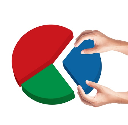 Hand select slice piece of pie graph photo