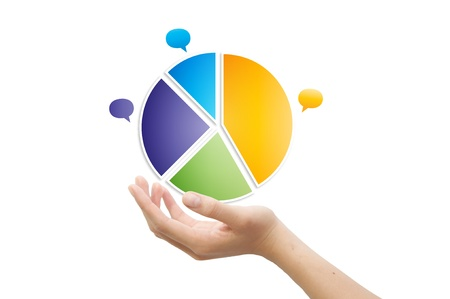 stock market chart: Hand and 3d pie chart Stock Photo