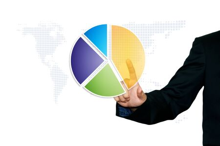 Business man touch 3d pie chart photo