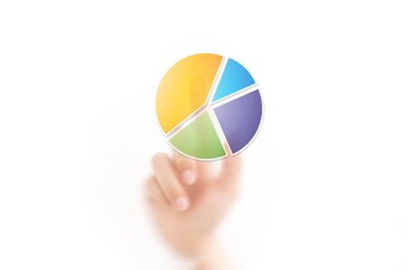 hand pointing on pie chart button photo