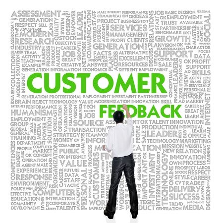 customer focus: Business man  building word cloud for business concept