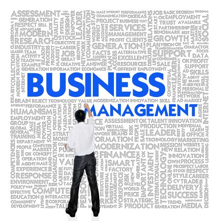 businessplan: Business man  building word cloud for business concept