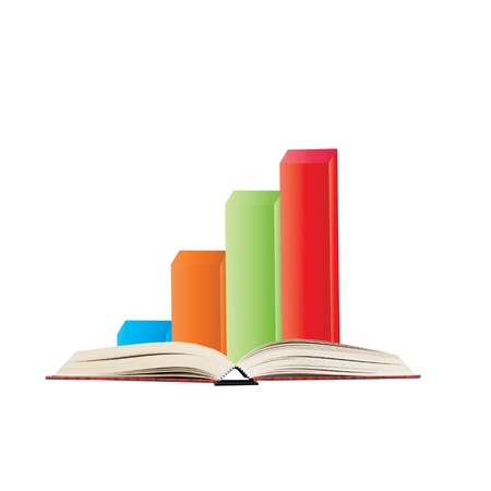 financial obstacle: 3d bar graph on the book