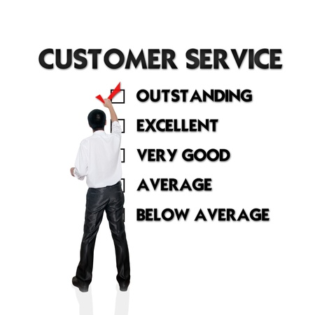 satisfied: Customer service evaluation form with business man selecting the choice Stock Photo