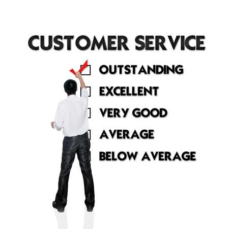 relation clients: Formulaire d'�valuation Service � la client�le avec l'homme d'affaires en choisissant la s�lection
