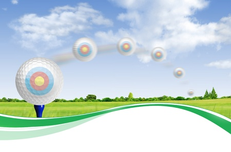 Golf ball on tee off with green grass field over the blue sky background  photo