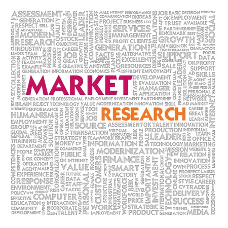 market research: Word cloud for marketing concept