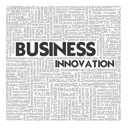 businessplan: Word cloud business concept,innovation Stock Photo