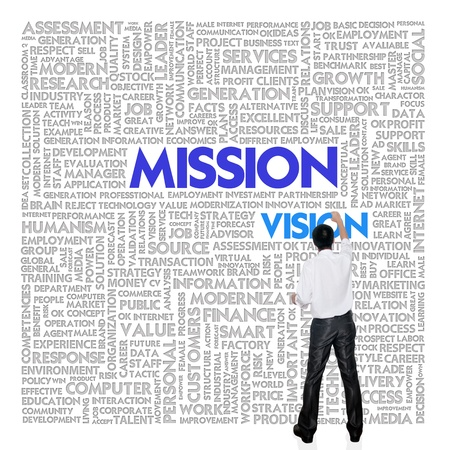 Business man building word cloud for business concept photo