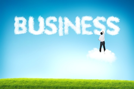 Business man drawing Business cloud text Stock Photo - 12351458