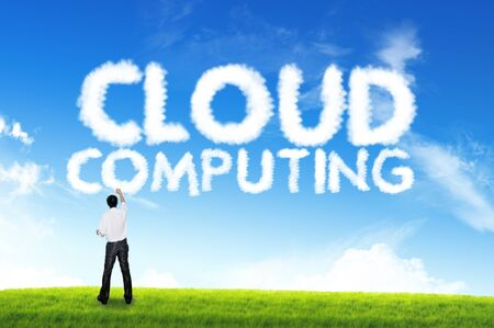 Hand holding Business cloud text , cloud computing photo