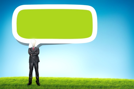 higher education: Business man with bulb head and speech bubble Stock Photo
