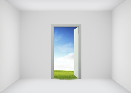 Open door to the new world, for environmental and business idea concept photo