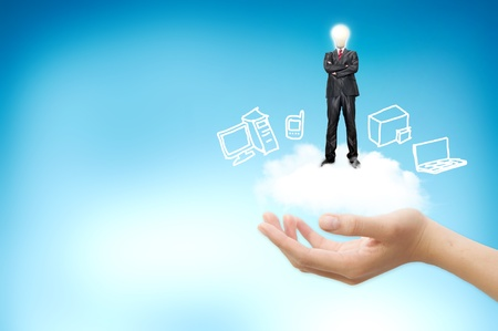 Hand handle cloud against blue sky with clouds on background. For cloud computing and eco concept photo
