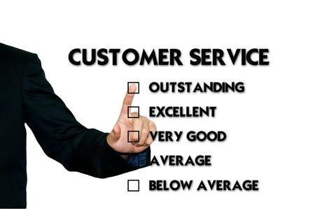 ottimo: Uomo d'affari selezionando scheda di valutazione, le prestazioni
