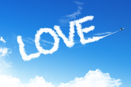 boeing: LOVE Text cloud on the blue sky Stock Photo
