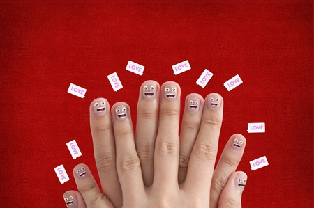 Smiling Finger group with love bubble text, for valentines day concept photo