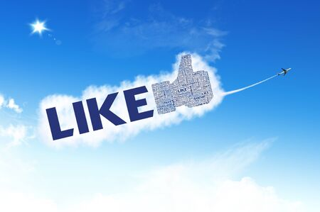 LIKE symbol on the sky with plane carrying the cloud Stock Photo - 12351788