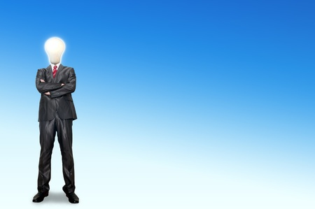 A business man bulb standing in the gallery room Stock Photo - 12351780