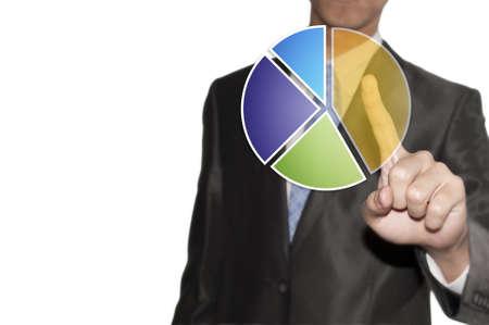 segment: Business man touching the pie graph