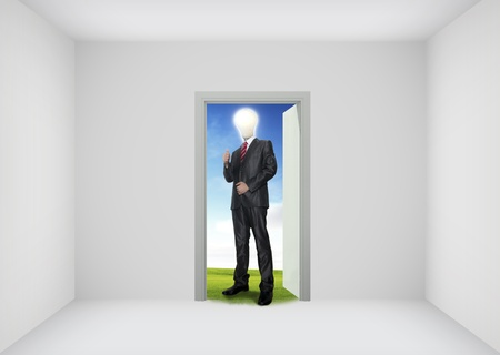 real world: Open door to the new world, for environmental and business idea concept Stock Photo