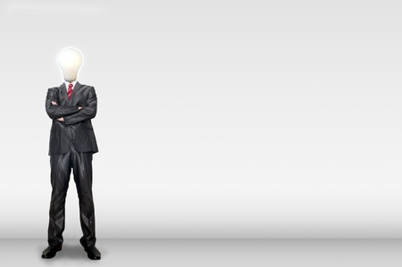 A business man bulb standing in the gallery room Stock Photo - 12351753