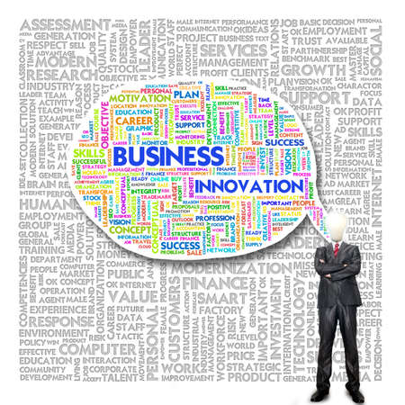 instances: Business man and bulb head with Word cloud for business concept Stock Photo