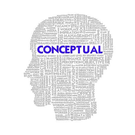 Word cloud business concept inside head shape, conceptual photo