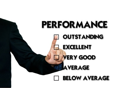 selling service: Business man selecting evaluation form, performance