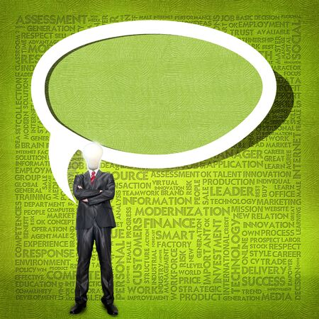 higher education: Business man and bulb head with Word cloud for business concept Stock Photo