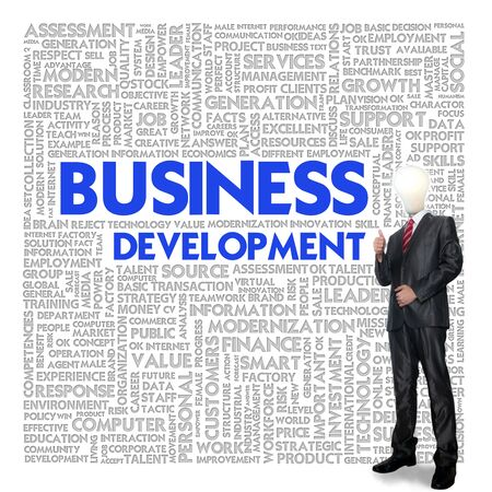 Business man and bulb head with Word cloud for business concept photo