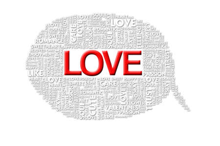 LOVE valentine Word collage on white background photo