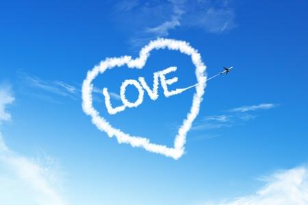 air show: LOVE HEART cloud on the blue sky