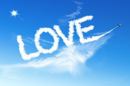 LOVE Text cloud on the blue sky Stock Photo - 12351811