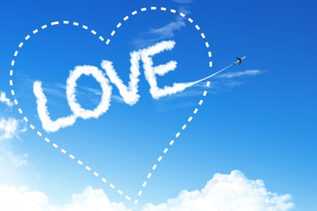 LOVE Text cloud on the blue sky photo
