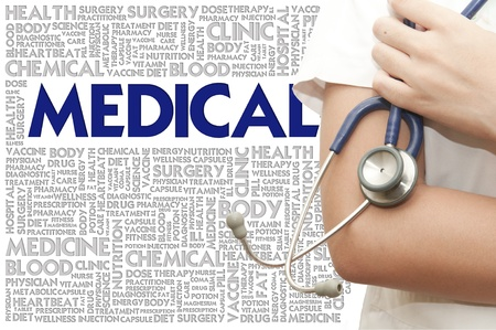 Doctor handle stethosocope on the word cloud, medical concept photo