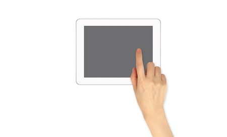 Finger Point on touch screen email communication photo