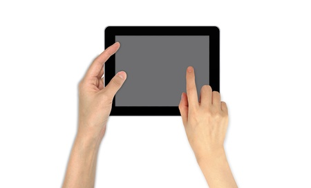 Finger Point on touch screen email communication Stock Photo