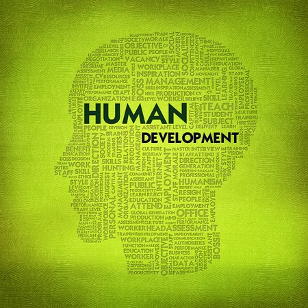 extramural: Word cloud business concept inside head shape, Human Development Stock Photo