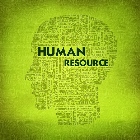 resources: Word cloud business concept inside head shape, Human Resource Stock Photo