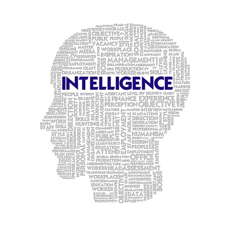 Word cloud business concept inside head shape, intelligence photo