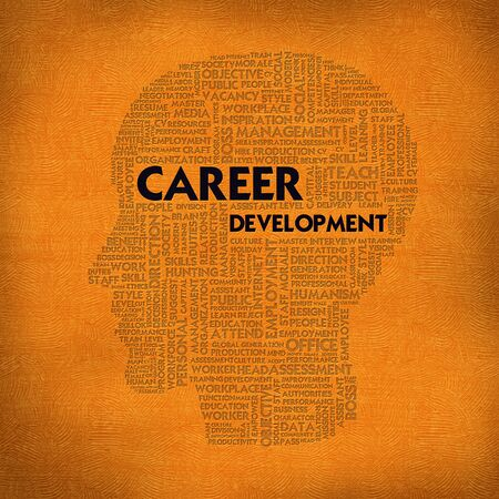 Word cloud business concept inside head shape, career development photo
