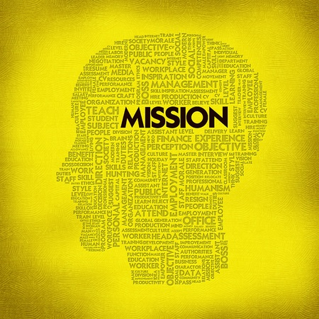Word cloud business concept inside head shape, mission photo