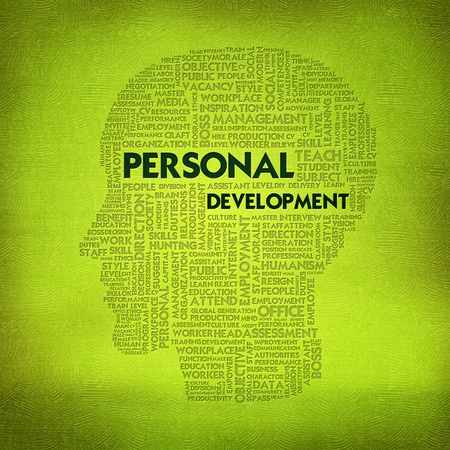 extramural: Word cloud business concept inside head shape, personal development Stock Photo